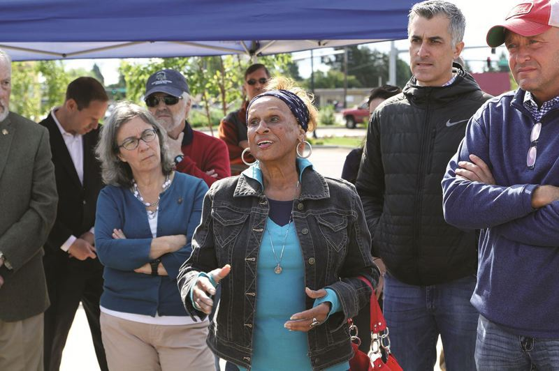 PAMPLIN MEDIA GROUP FILE PHOTO - Sen. Jackie Winters, center, talked with Woodburn residents in 2016 as she checked out the new Woodburn Interstate 5 interchange.