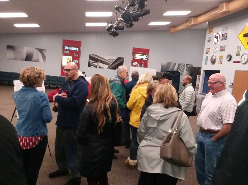 TIMES PHOTO: RAY PITZ - More than 30 people came out Tuesday night for an open house at Horizon Christian High School to see what the next steps are for the Basalt Creek area.