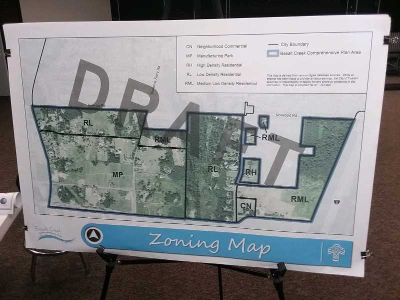 TIMES PHOTO: RAY PITZ - A draft plan shows the zoning designation for Basalt Creek, an area jointly planned by the cities of Tualatin and Wilsonville.