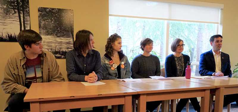 REVIEW PHOTO: CLAIRE HOLLEY - Members of Students for Change join state Sen. Rob Wagner and state Rep. Andrea Salinas on Sunday at a news conference about SB 501, their proposed gun-reform bill. From left: Wylie Thompson, Eli Counce, Eliana Andrews, Penelope Spurr, Salinas and Wagner.