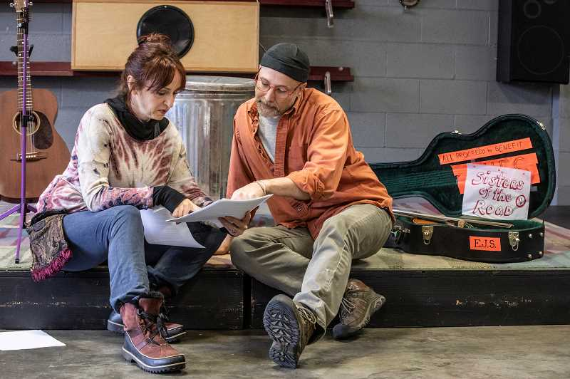 TIDINGS PHOTO: JONATHAN HOUSE - Eliza Jane Schneider works with director Bruce Hostetler during rehearsal for 'displaced/detained/discovered.'