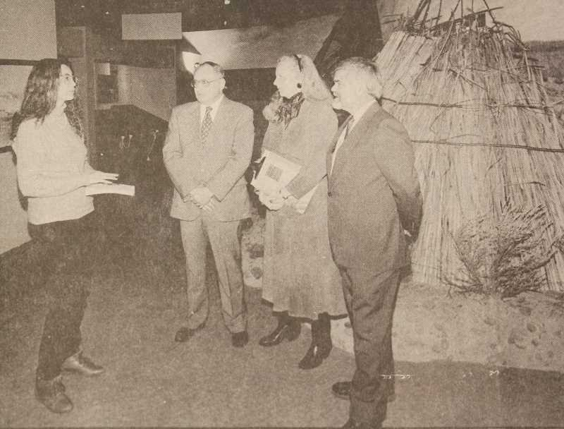 FILE PHOTO - Susan Matheny, at left, interviews Jim Southern, Catherine Windus, and former Museum at Warm Springs Director Michael Hammond during a press preview in Warm Springs, prior to the March 13, 1993, opening of the museum.
