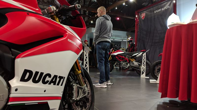 PHOTOS: COURTESY DUCATI AMERICA - Invited customers got a sneak peek of Ducatis 2019 models at the dealership in a party atmosphere, including the 959 Panigale Corse.