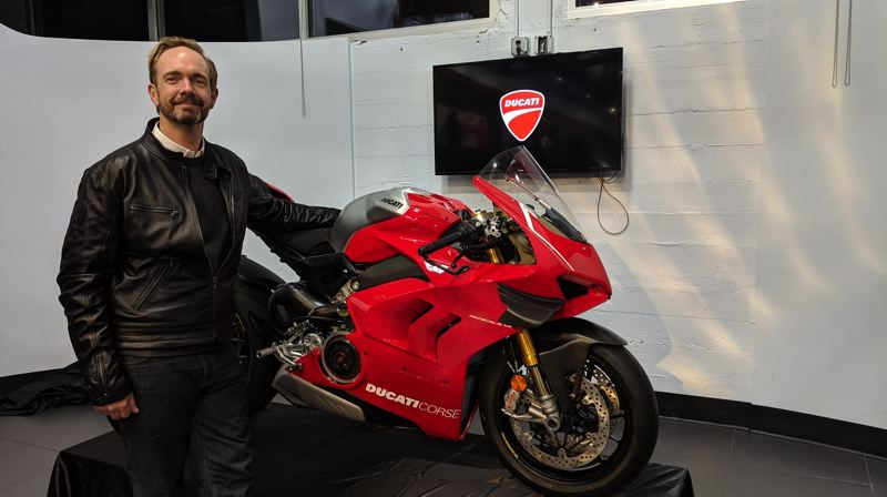 PHOTO: JOSEPH GALLIVAN - Ducati America CEO Jason Chinnock, in Portland for the opening of the road tour showcasing multiple Ducati motorcycles, including the $40,000 Panigale V4 R.