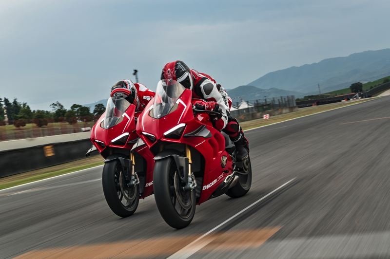 PHOTOS: COURTESY DUCATI AMERICA - A pair of Ducati Panigale V4 Rs take to the track. The road tour for the street legal race track bike was held in Portland last week. The Portland dealership, MotoCorsa, was chosen because it has been the US's leader in Ducati sales, including in 2018.