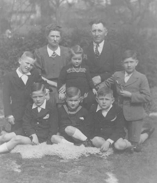 PHOTO COURTESY OF THE DAMER FAMILY  - This Damer family photo was taken in the 1940s when they lived with Theresia's mother before they immigrated to the United States from Germany. Guido is pictured in the front row on the right.