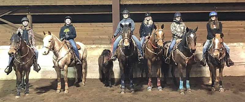 Colton High School OHSET team members are from left to right: Mikey Spalinger on Cinco, Cassidi Cohoon on Nitro, Elvis (the mini), Tina Reed on Copper, Dally Wheeler on Kacie, Brianna Walker on Ace and Miranda Miller on Daisy.