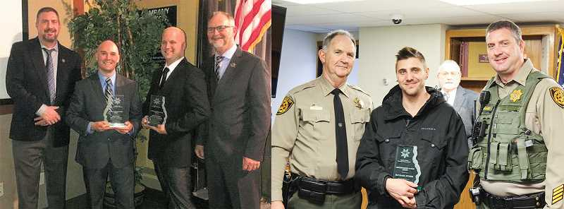CENTRAL OREGONIAN - Prineville Police Officer James Young, Deputy Mitch Madden and local resident Michael Stuhr were all recognized for helping pull a man from a burning travel trailer.