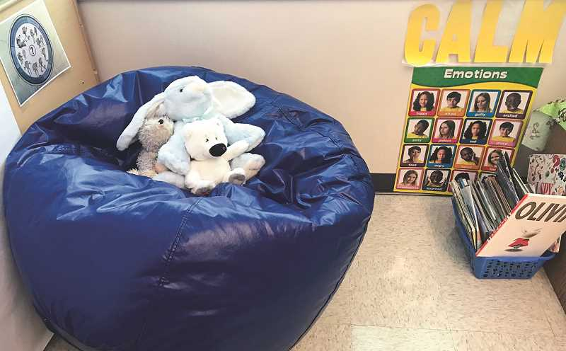 PHOTO COURTESY OF JIM BATES  - This Barnes Butte Elementary classroom calm corner features a beanbag chair and activities to help calm children who may be frustrated or unfocused.