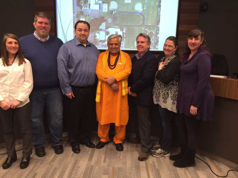 CAROL ROSEN - After some confusion, Rajan Zed (middle) added a second invocation at a recent Canby City Council meeting.