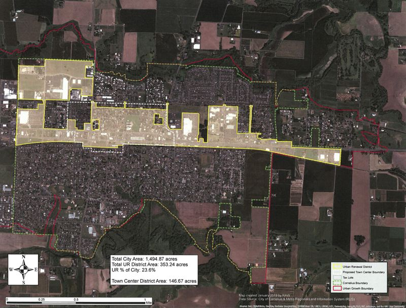 COURTESY MAP: CITY OF CORNELIUS - The proposed urban renewal area is superimposed in yellow over a satellite map of Cornelius.
