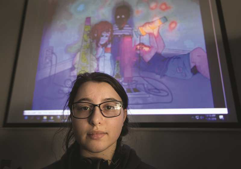 PAMPLIN MEDIA GROUP: JAIME VALDEZ/SUBMITTED PHOTOS - Woodburn senior Julia Melkomukov sits in front of her digital art titled Child Trap.