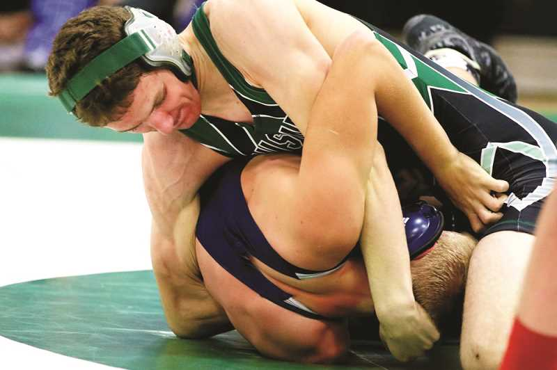CONTRIBUTED: JO WHEAT - North Marion senior Wyatt Haberstitch split his matches at home against Banks and Tillamook, and struggled at the Mid-Valley Classic, going 0-2 on the day.