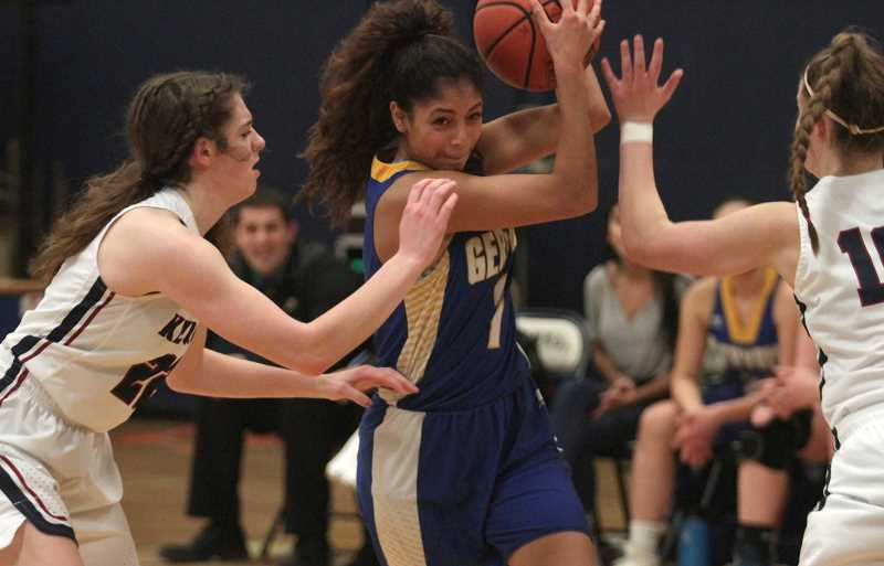 PAMPLIN MEDIA GROUP: PHIL HAWKINS - Gervais sophomore Araceli Vasquez scored a team-high 14 points, including three 3-pointers, in the team's 53-40 loss to No. 1 Kennedy on Friday.