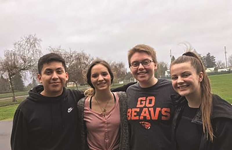 CONTRIBUTED PHOTO: JULIE POWERS - From left: North Marions four-year senior swimmers Jason Cano, Ann-Elise Lader, Pascal Powers-Leach and Sophie Davenport.