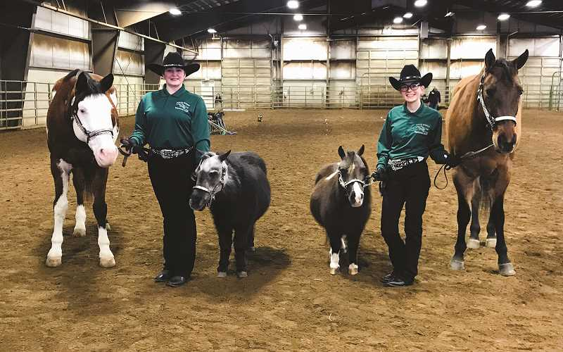 COURTESY KIM KNIGHT - North Marion juniors Rebecca Lettenmaier (left) and Peyton Knight form the small, but dedicated roster for the Huskies equestrian team this year.