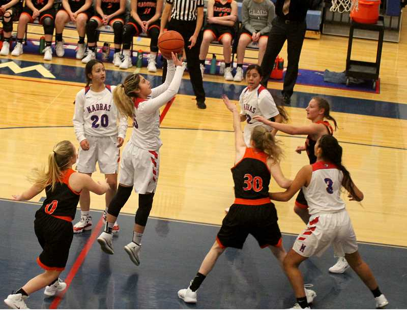 STEELE HAUGEN - Niya Bagley shoots a mid-range jumper as the Lady Buffs beat the Gladstone Gladiators at home 70-54 Jan. 22. As of Jan. 28, the White Buffalos are 3-1 in the Tri-Valley Conference, behind North Marion (4-0).