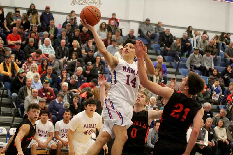 STEELE HAUGEN - Byron Patt  finishes a shot at the rim. Patt led the Buffalos in points with 17, helping Madras beat Molalla 70-47.