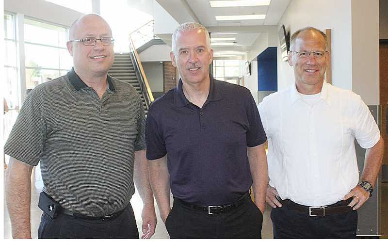PIONEER FILE PHOTO - School District 509-J administrators, from left, Superintendent Ken Parshall, and MHS Principals Mark Neffendorf and H.D. Weddel.