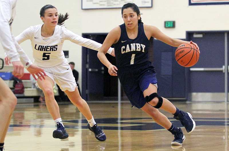 PAMPLIN MEDIA GROUP PHOTO: TANNER RUSS - Canby junior Naarai Gomez drives against the Lake Oswego defense.