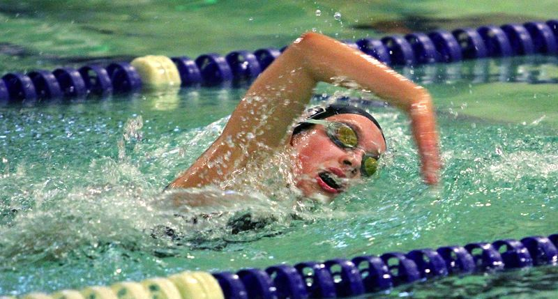 PMG PHOTO: MILES VANCE - Tualatin sophomore Sarah Sheppard took second place in the 200-yard freestyle event during the Timberwolves' Three Rivers League dual meet with West Linn.