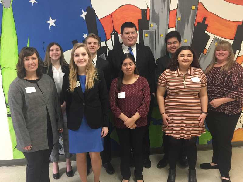 COURTESY PHOTO: CORRI ELLIS - Molalla chapter members stop for a photo during the regional FBLA competition on Jan. 19.