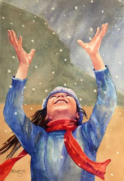 Mary Burgess piece Snow Before the Storm captures the character Maribel's joy at seeing her first snowfall.