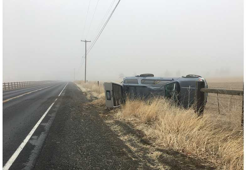 PHOTO COURTESY OF CROOK COUNTY SHERIFF'S OFFICE - Kaylee Stout, of Prineville, rolled her vehicle Tuesday morning while attempting to pass another vehicle.