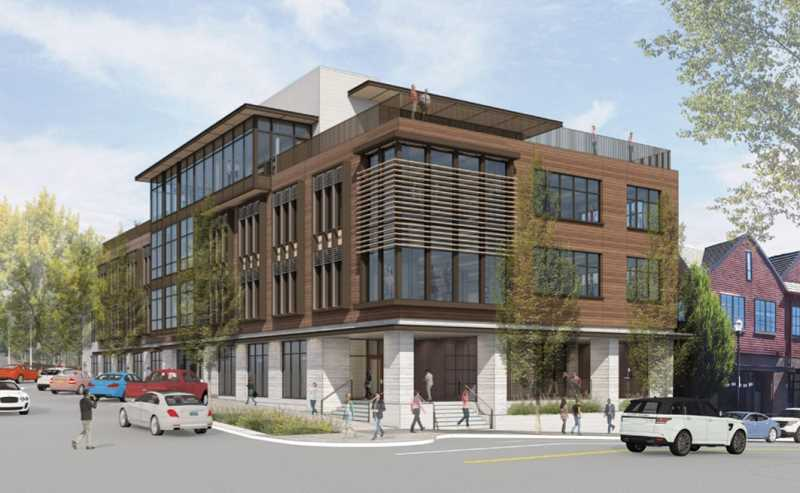 SUBMITTED PHOTO: 10 BRANCH LLC - An artist's rendering of Beacon Lake Oswego shows how the building will look from the southwest corner of Third Street and B Avenue.