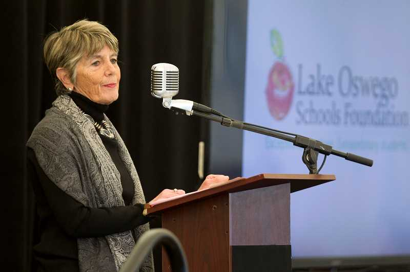 REVIEW PHOTO: JAIME VALDEZ - Lake Oswego resident Debbie Craig was the keynote speaker at Tuesday's Lake Oswego Schools Foundation luncheon. 'It's about making a difference,' she said. 'One small thing is felt in a big way in our community.'