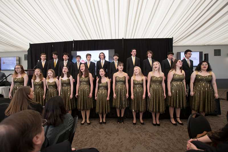 REVIEW PHOTO: JAIME VALDEZ - Lake Oswego High's Windjammers kicked off Tuesday's luncheon with two musical numbers.