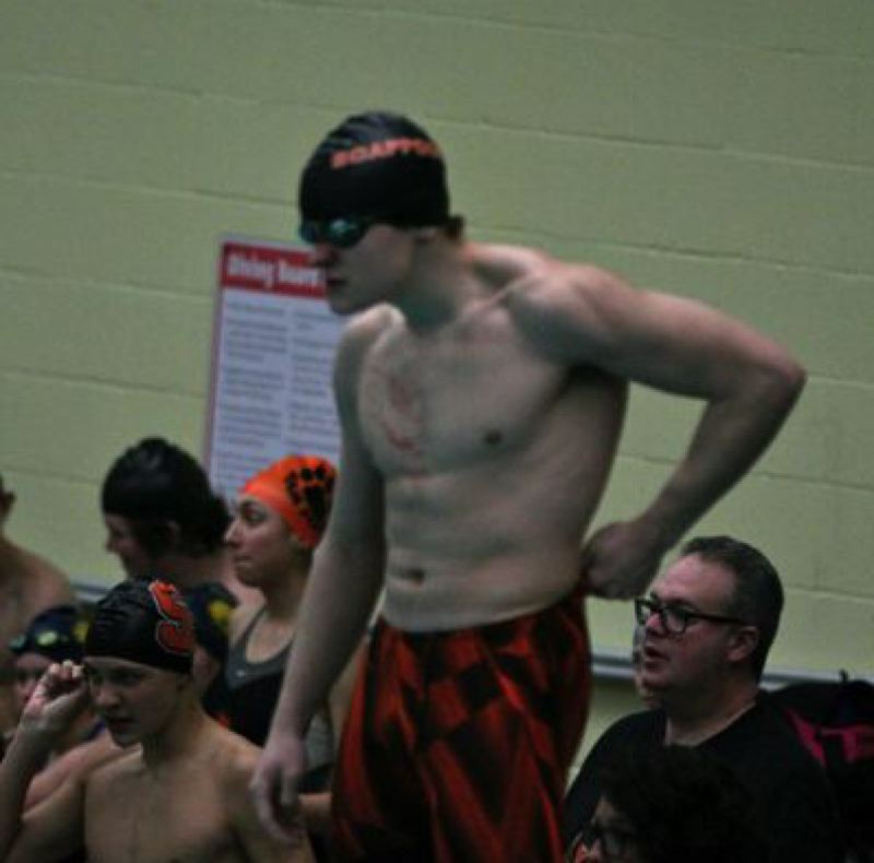 COURTESY: SCAPPOOSE HIGH SCHOOL - Bryant Sharp of Scappoose High helped the Indians boys swim team garner second place at the Blanchet Catholic Invitational in Salem.