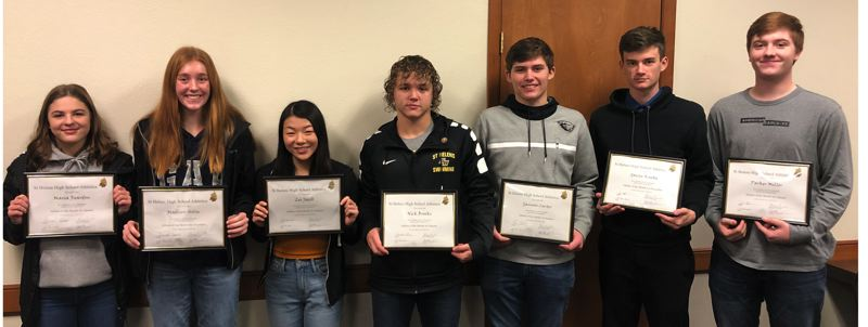 COURTESY: ST. HELENS SPORTS BOOSTER CLUB - St. Helens High Athletes of the Month for December/January are (from left): Maria Reardon and Madison Holm (girls basketball), Lei Jacob and Nick Brooks (swimming), Gannon Carter (wrestling) and Gavin Knoke and Parker Miller (boys basketball).