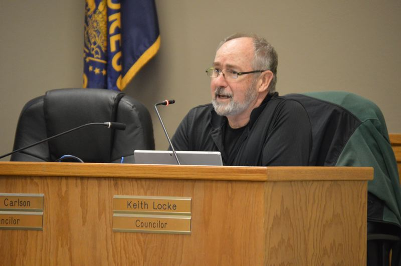 SPOTLIGHT PHOTO: NICOLE THILL-PACHECO - St. Helens City Councilor Keith Locke speaks during a Jan. 2 City Council meeting. Locke has stated he intends to leave the council by the end of 2018, but has not not relinquished his seat.