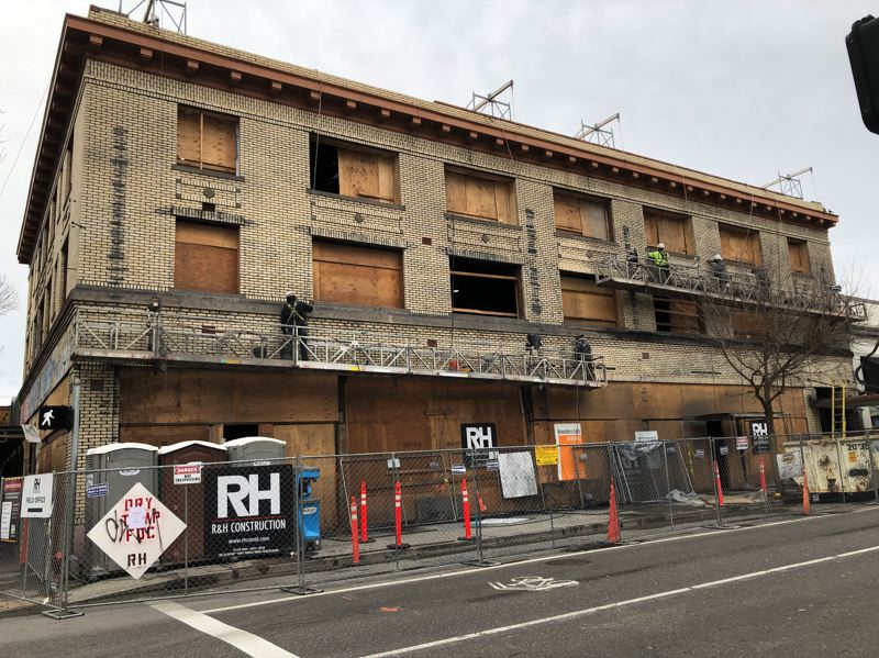PAMPLIN MEDIA GROUP: STEPHANIE BASALYGA - R&H Construction crews are transforming a former apartment building into a social hostel and gastropub featuring a design by Hennebery Eddy.