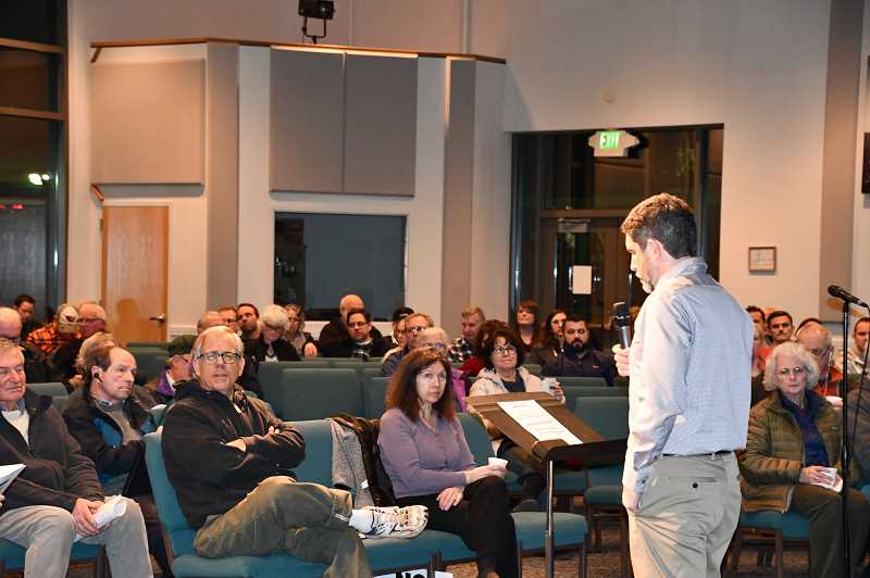 COURTESY PHOTO: CLACKAMAS COUNTY - The Jan. 15 meeting where nearly 200 people met, many of them with strong opposition to the bridge.