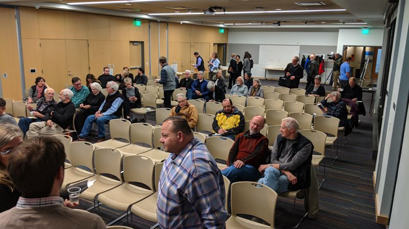 PAMPLIN MEDIA GROUP: JOSEPH GALLIVAN   - The public assembling at the Oregon Zoo Education Center Jan 23. Many had been tracking the project for decades, although it only took off in the last four years.