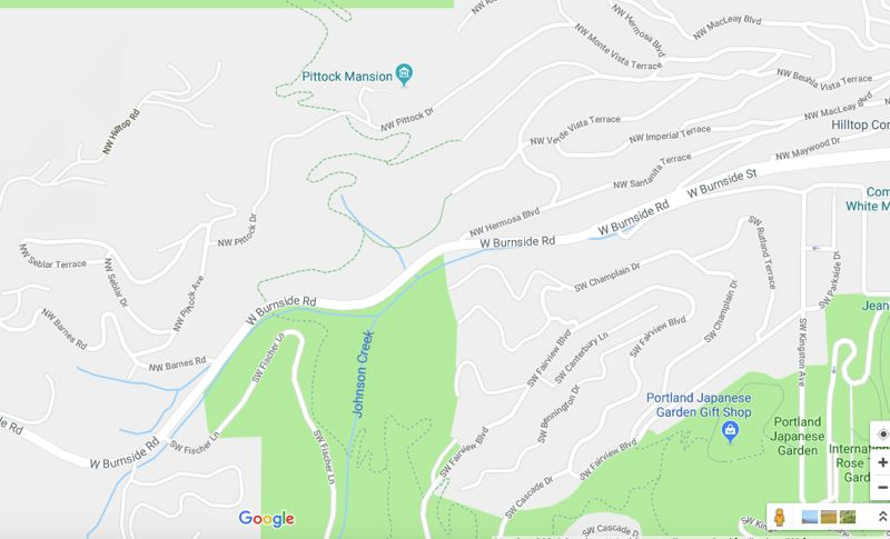COURTESY: GOOGLE MAPS  - The Wildwood trail is used to cross from Washington Park to Forest Park. A traditional hike is from Pittock Mansion to the Hoyt Arboretum.  The bridge will be where the word 'Rd' is in the north end of the tall green space in the center of the map.