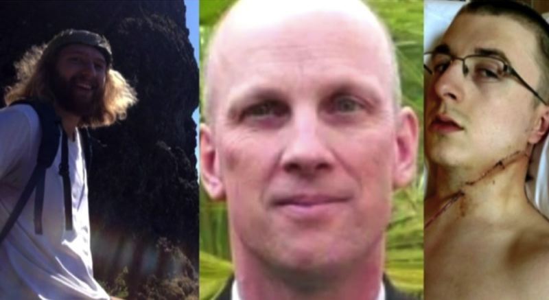 VIA KOIN 6 NEWS - Taliesin Myrddin Namkai-Meche (left) and Ricky John Best (center) were killed in a stabbing on May 26, 2017. Micah Fletcher (right) was also wounded.