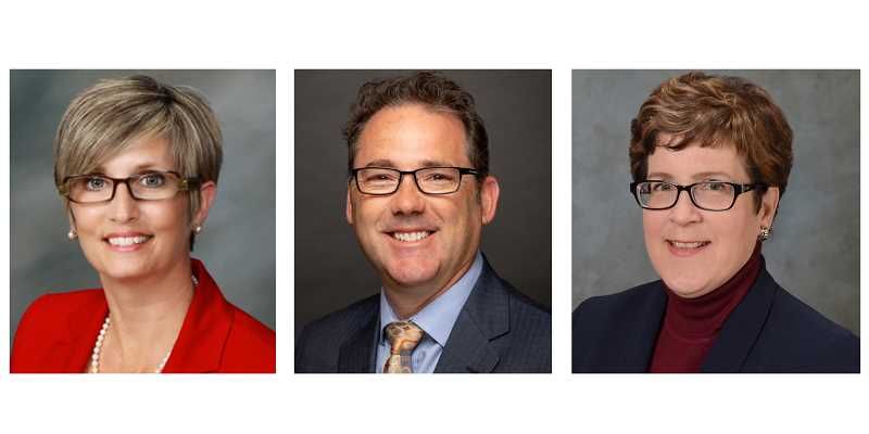 SUBMITTED PHOTOS - From left to right, Dr. Kimberlee Messina, Dr. Tod Treat and Dr. Laurie Chesley are the three final candidates for COCC president. Each has scheduled a visit to the Madras COCC campus.