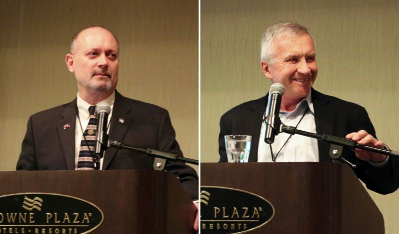 TRIBUNE PHOTO: ZANE SPARLING - FROM LEFT: Oregon Republican Party chair Bill Currier and former gubernatorial candidate Sam Carpenter speak during the Western Liberty Network conference on Saturday, Feb. 2.