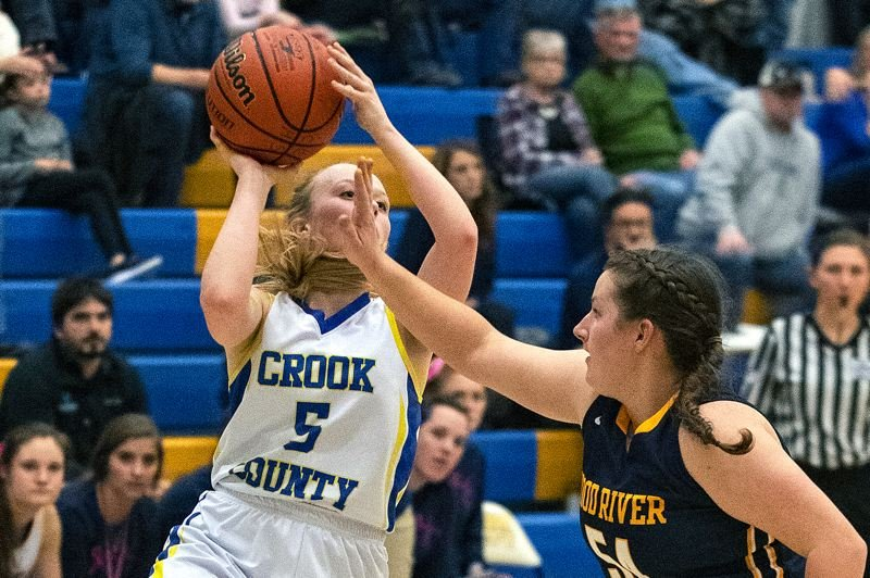 CENTRAL OREGONIAN PHOTO: LON AUSTIN - Crook County sophomore Teagan Freeman came up with the Play of the Day on Friday against Hood River Valley, burying a 10-goot jumpshot to beat the Eagles at Crook County High School.