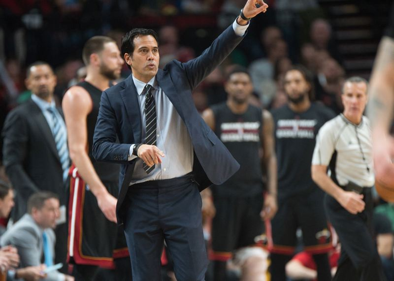 TRIBUNE FILE PHOTO: JOSH KULLA - His Miami Heat have flirted with .500 this season — not great, not bad — but coach Erik Spoelstra from Portland says he still loves his job.
