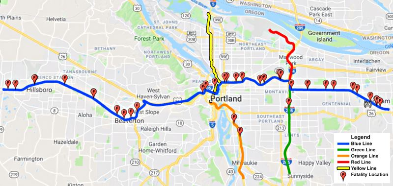 COURTESY CHRIS CARVALHO - A map provided by Chris Carvalho showing the location of fatalities along the MAX lines since the first one opened 42 years ago.