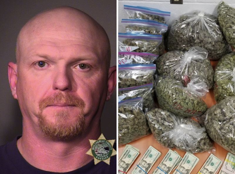 PHOTOS VIA MCSO/PPB - FROM LEFT: Jason Hatch was arrested after Portland Police Bureau allegedly found marijuana and cash in his car.