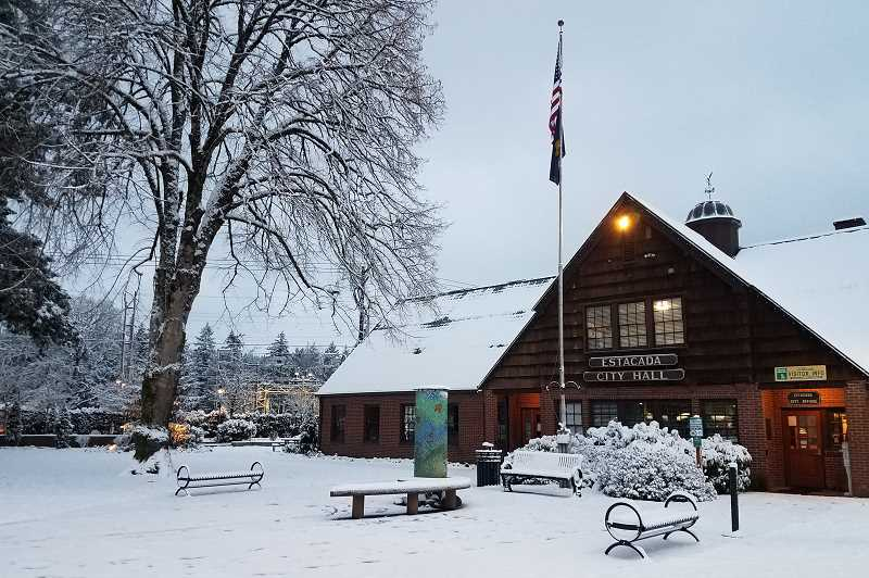 CONTRIBUTED PHOTO: MELANIE WAGNER - Snow is pictured in front of Estacada City Hall today, Feb. 5.
