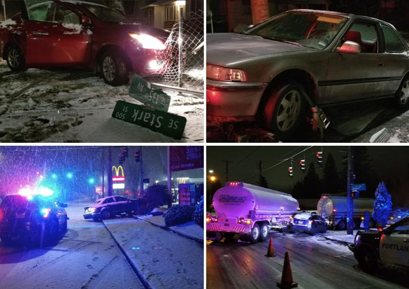 PPB PHOTOS - Portland police responded to many crashes during the winter weather on Tuesday, Feb. 5.