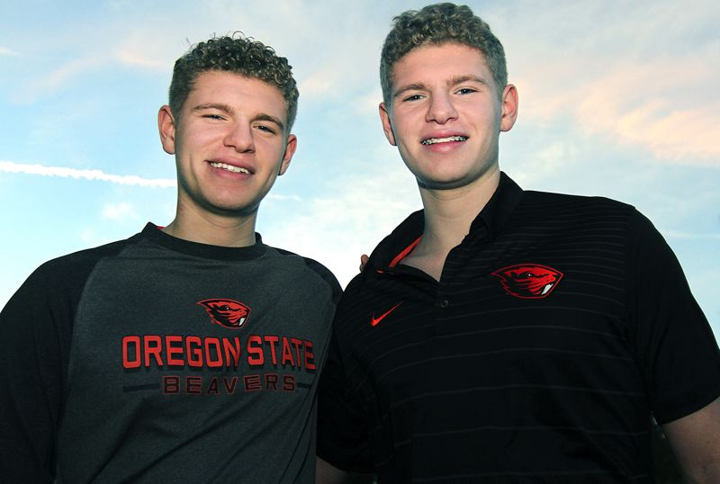REVIEW PHOTO: MILES VANCE - Lake Oswego High School seniors Will (left) and Ben La Fond will row at Oregon State next year, that despite their lifelong battle against idiopathic anaphylaxis.