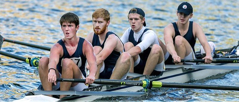 SUBMITTED PHOTO - Lake Oswego rowers Will (second from right) and Ben La Fond have competed for Lake Oswego Community Rowing throughout their high school careers.