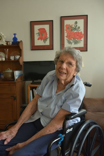 SPOTLIGHT PHOTO: COURTNEY VAUGHN - Monica Robertson, now 100, reminisces about her life of teaching, traveling and art.